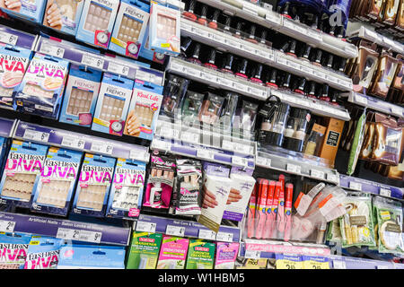 Miami Beach Florida Walgreens drug store pharmacy chain business product display personal grooming nails nail care artificial n - Stock Image