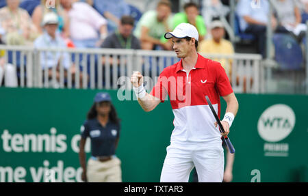 Eastbourne, UK. 25th June, 2019. Andy Murray of Great Britain in action with partner Marcelo Melo from Brazil during their doubles match against Juan Sebastien Cabal and Robert Farah of Colombia at the Nature Valley International tennis tournament held at Devonshire Park in Eastbourne . Credit: Simon Dack/Alamy Live News - Stock Image