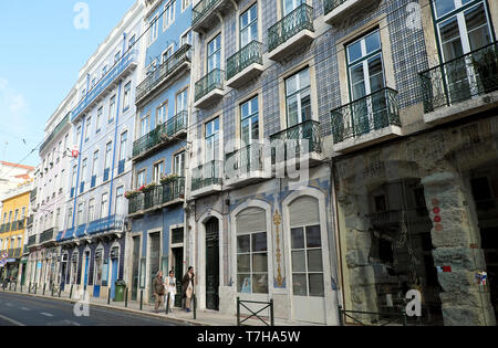 View of apartment buildings and shops along Rua da Boavista street in the city of Lisbon Portugal Europe EU  KATHY DEWITT - Stock Image