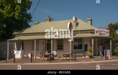 Country pub at Blackwood, a small town in the Central Goldfields of Victoria, Australia - Stock Image
