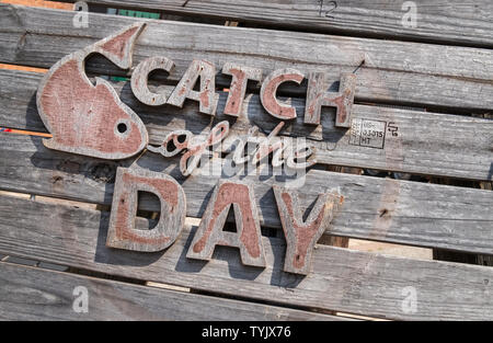 Restaurant board for fish catch of the day - Stock Image