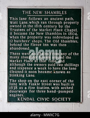 Kendal Civic Society Information Plaque. The New Shambles, Kendal, Cumbria, England, United Kingdom, Europe. - Stock Image