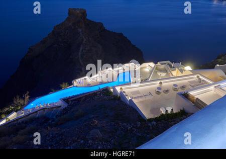 Volcanic rock Skaros at night , Imerovigli Santorini - Stock Image