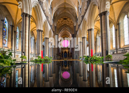 Salisbury Wiltshire England. 11 Dec 2018 From Darkness to Light inside Salisbury Cathedral in Wiltshire England. 'The Light' an instalation by Richard - Stock Image
