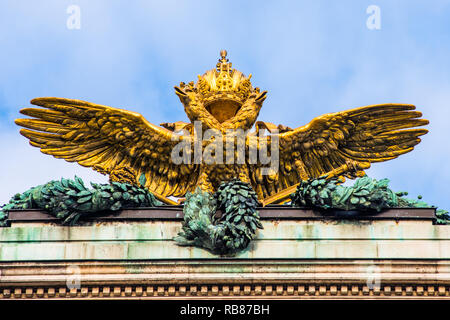Gold Imperial Two Headed Eagle And Royal Crown Of The Hofburg Palace In Vienna, Austria - Stock Image