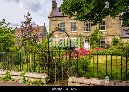 A house on Church Street with a summer garden full of pink valerian flowers, Bamburgh, Northumberland, UK. 2018. - Stock Image