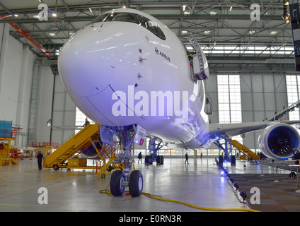 An Airbus A350XWB at the Airbus headquarters in Finkenwerder, Hamburg, Germany - Stock Image