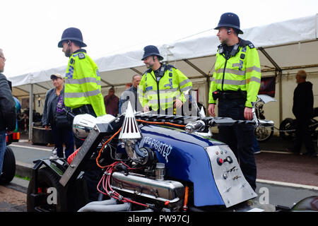 Brighton UK 14th October 2018 - Police officers join thousands of bikers and custom car enthusiasts enjoying this years Brightona Motorcycle event along Madeira Drive on Brighton seafront raising money for the Sussex Heart Charity Credit: Simon Dack/Alamy Live News - Stock Image