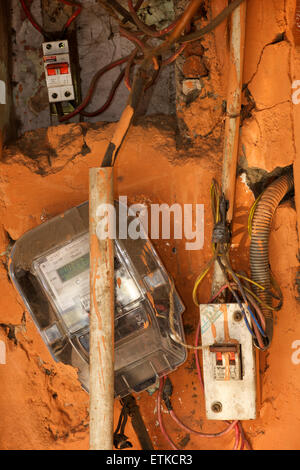 Indian electrical installation. Electricity meter. - Stock Image