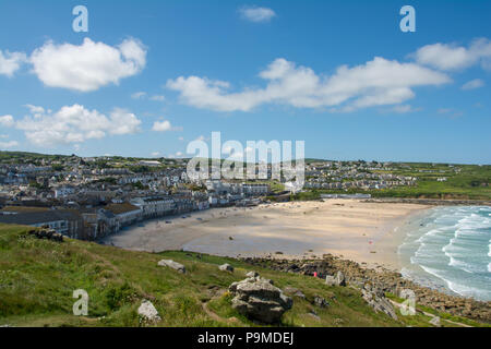 A view of Porthmeor beach from atop Island peninsula in St Ives, Cornwall, UK - Stock Image