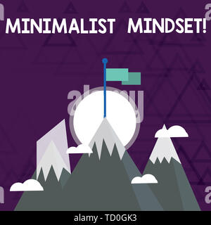 Conceptual hand writing showing Minimalist Mindset. Concept meaning Be more Aware what Life can Offer without Clutter Three High Mountains with Snow a - Stock Image