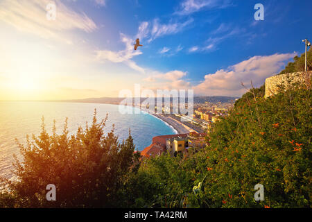 City of Nice Promenade des Anglais waterfront aerial view, French riviera, Alpes Maritimes department of France - Stock Image
