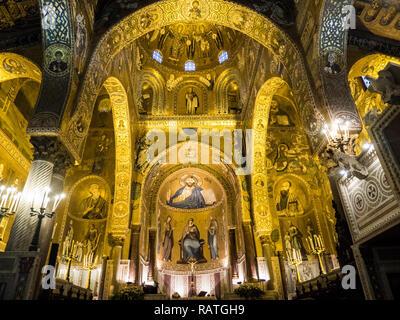 Cappella Palatina (Palatine Chapel aka Palace Chapel) in the Palazzo Reale, city of Palermo, Sicily, Italy. - Stock Image