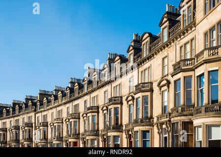 Terraced townhouses at Eglinton crescent in Edinburgh West End , Scotland UK - Stock Image