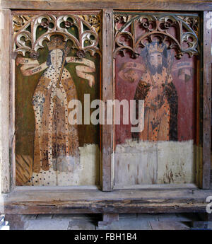 Painted Kings and Saints on the rood screen, King Henry VI and St Edmund, Barton Turf Church, Norfolk - Stock Image
