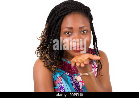 Portrait of beautiful woman blowing in the palm. - Stock Image