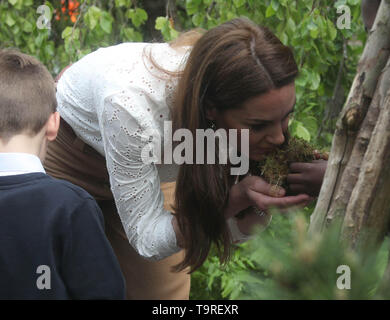 The Duchess of Cambridge visits her garden at the RHS Chelsea Flower Show at the Royal Hospital Chelsea, London. - Stock Image