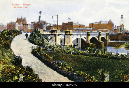 Old vintage 1900s Australian Topographical  Picture Postcard of Princes Bridge Melbourne Australia 1908  FOR EDITORIAL - Stock Image