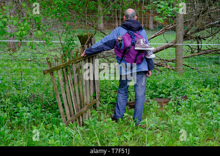older man backpacking in countryside standing by old wooden gate and confronted by anti deer and electric fences blocking his way zala county hungary - Stock Image