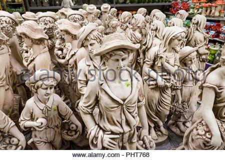 Garden figures are on display at Tuincentrum Oosterik, a large garden store in Noord Deurningen, The Netherlands. - Stock Image