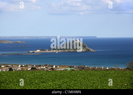 St Michael's Mount, Cornwall, UK.  Lizard Peninsular in the Background. - Stock Image