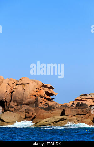 Pink granite coast in cotes d'armor, Brittany, France. - Stock Image