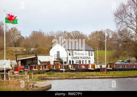 Chirk narrowboat marina on the Llangollen canal in North Wales UK - Stock Image