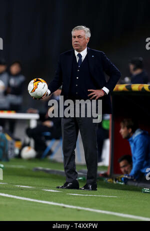 Napoli manager Carlo Ancelotti on the touchline during the UEFA Europa League quarter final second leg match at the San Paolo Stadium, Naples. - Stock Image