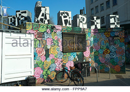A painted wall in the Bearpit, a community creative and action area in the sunken St. James Barton Roundabout, Bristol, - Stock Image