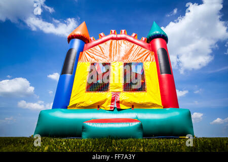 Children's inflatable bounce house castle toy - Stock Image