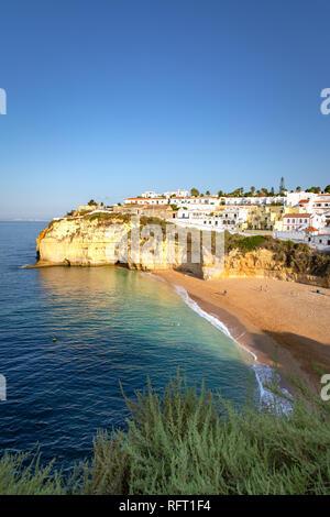 Carvoeiro, beach and ocean at sunrise. Algarve, Portugal - Stock Image