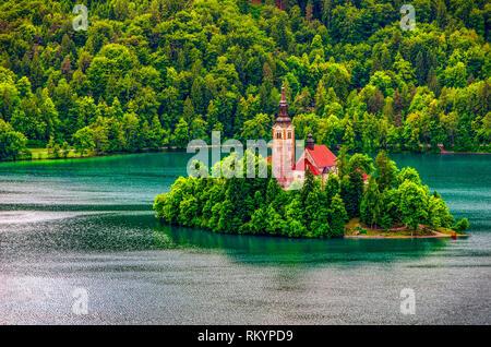Bled lake church island aerial background - Slovenia - Stock Image