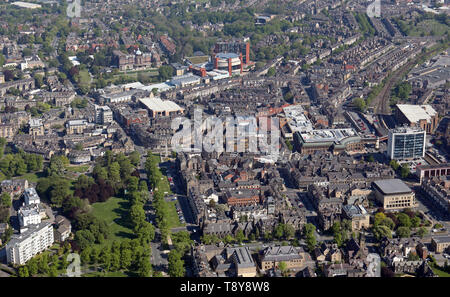 aerial view of Harrogate town centre, North Yorkshire - Stock Image