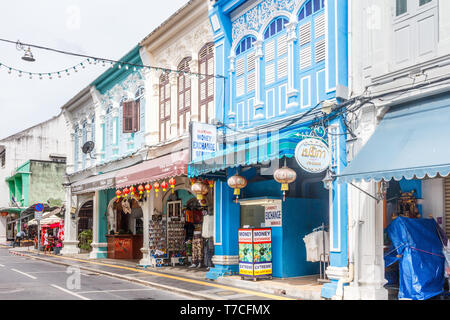 Phuket, Thailand - 27th November 2017: Sino Portuguese architecture buildings on Thalang Road. Many buildings have been restored. - Stock Image