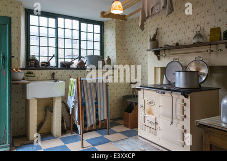 Old Fashioned Farm Kitchen Beamish Living Open Air Museum - Stock Image