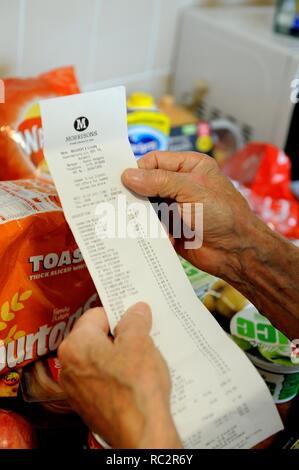 Shopping receipt, weekly shop,UK - Stock Image