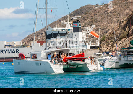 sail boat with people on board, Gustavia, St Barts - Stock Image