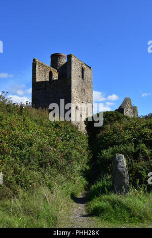 Ruins of an Engine House in Penwith, Cornwall - Stock Image