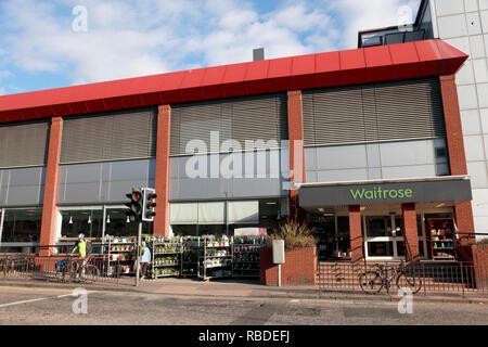 The entrance to the Waitrose supermarket at Comely Bank, Edinburgh - Stock Image