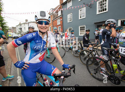 FDJ rider strikes hand on hips pose at the start of the 2018 Ovo Women's Tour - Stock Image