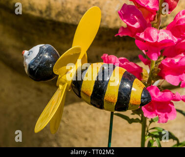 Bumble bee garden ornament, with black and yellow stripes, which features fast spinning wings when the wind blows, positioned amongst pink flowers. - Stock Image