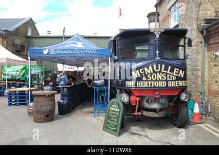The Sentinel Steam Wagon, a steam powered truck, at the Hertford Brewery. - Stock Image