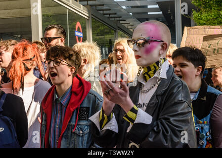 London, UK. 11th April 2019. Campaigners from Transmission, a group supporting the rights of trans people, protest outside the offices of The Times newspaper after an unfair article against The Tavistock Centre and all medical services for trans children, which they say are vital and clinically proven to help cure gender dysphoria and lower mental health and suicide rates. They say journalist Lucy Bannerman has also targeted trans charity Mermaids and ostracised trans athletes for competing in sports, and call on The Times to end publishing transphobic propaganda. Peter Marshall/Alamy Live New - Stock Image