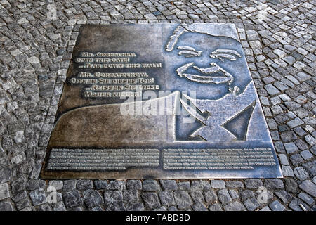 Plaque commemmorating 1987 Speech of President Ronald Reagan. The US leader called on Mr Gorbachov to tear down the wall  in Berlin - Stock Image
