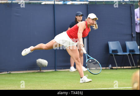 Eastbourne UK 24th June 2019 -  Yulia Putintseva of Kazakhstan plays a shot against Daniella Collins of USA during their match at the Nature Valley International tennis tournament held at Devonshire Park in Eastbourne . Credit : Simon Dack / TPI / Alamy Live News - Stock Image