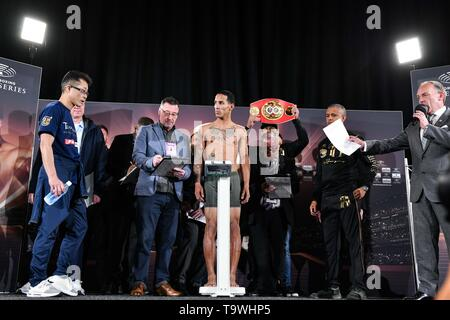 Glasgow, UK. 17th May, 2019. Emmanuel Rodriguez (PUR) Boxing : Emmanuel Rodriguez of Puerto Rico attends the official weigh-in for the IBF bantamweight title bout, Semi-finals of the World Boxing Super Series - Bantamweight tournament, in Glasgow, Scotland . Credit: Hiroaki Yamaguchi/AFLO/Alamy Live News - Stock Image
