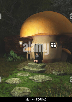 Gnome Toadstool House in the Forest - Stock Image