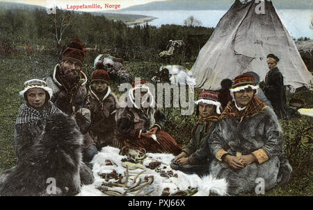 Sami Family, Norway.     Date: circa 1908 - Stock Image