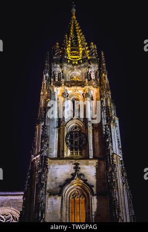 Metropolitan Cathedral Basilica of the Holy Saviour in Oviedo city in Asturias region, Spain - Stock Image