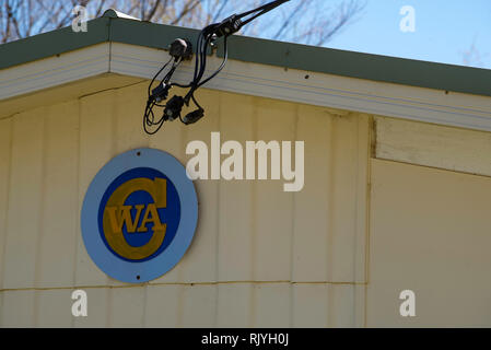 A simple mid century steel roofed weatherboard building provides a home for the CWA or Country Women's Association meeting rooms in Millthorpe NSW. - Stock Image